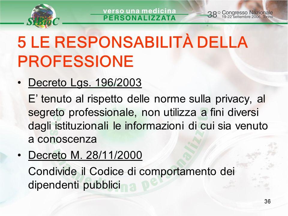 36 5 LE RESPONSABILITÀ DELLA PROFESSIONE Decreto Lgs. 196/2003 E tenuto al rispetto delle norme sulla privacy, al segreto professionale, non utilizza