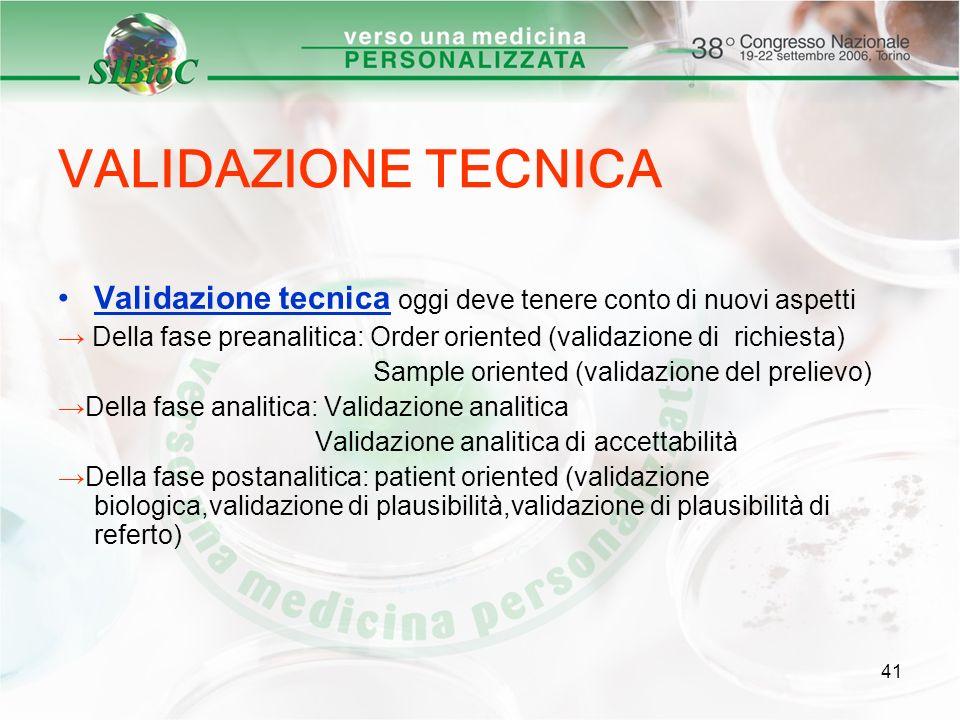 41 VALIDAZIONE TECNICA Validazione tecnica oggi deve tenere conto di nuovi aspetti Della fase preanalitica: Order oriented (validazione di richiesta)
