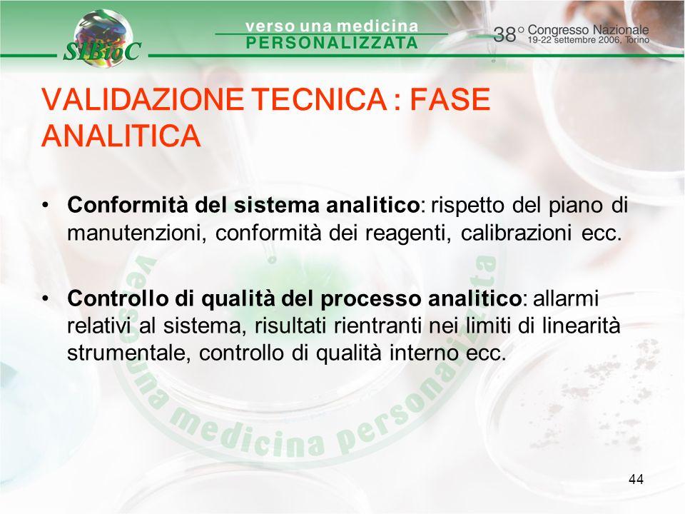 44 VALIDAZIONE TECNICA : FASE ANALITICA Conformità del sistema analitico: rispetto del piano di manutenzioni, conformità dei reagenti, calibrazioni ec