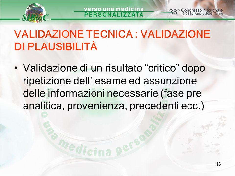 46 VALIDAZIONE TECNICA : VALIDAZIONE DI PLAUSIBILITÀ Validazione di un risultato critico dopo ripetizione dell esame ed assunzione delle informazioni