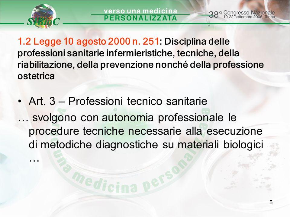 5 1.2 Legge 10 agosto 2000 n. 251: Disciplina delle professioni sanitarie infermieristiche, tecniche, della riabilitazione, della prevenzione nonché d