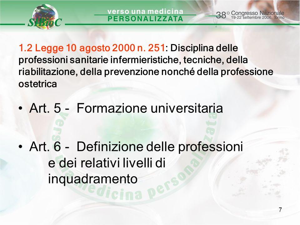 7 1.2 Legge 10 agosto 2000 n. 251: Disciplina delle professioni sanitarie infermieristiche, tecniche, della riabilitazione, della prevenzione nonché d