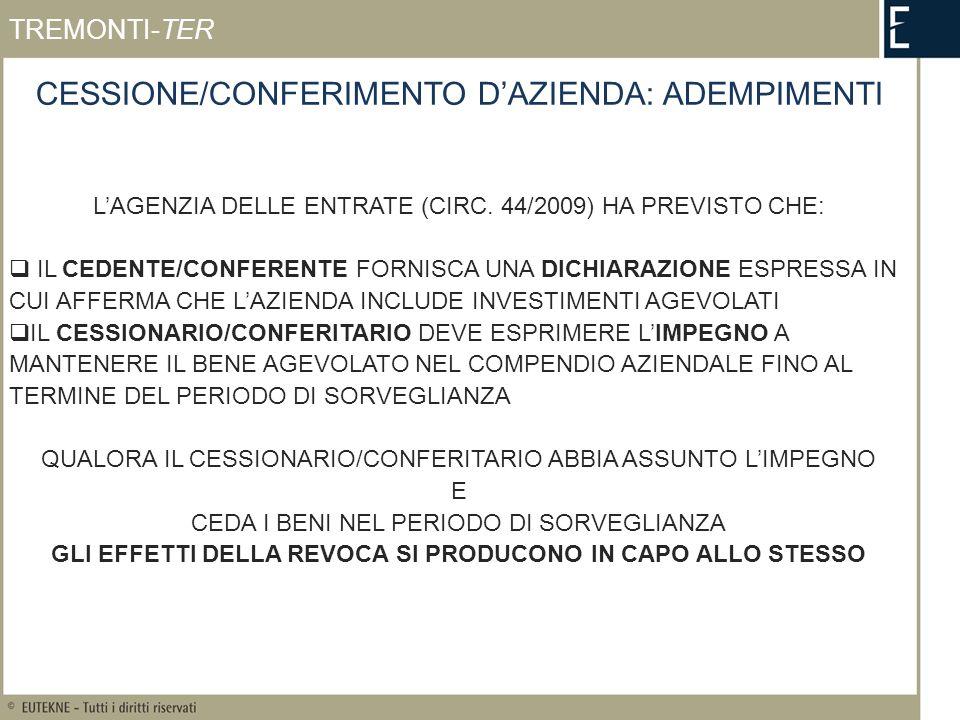CESSIONE/CONFERIMENTO DAZIENDA: ADEMPIMENTI LAGENZIA DELLE ENTRATE (CIRC.