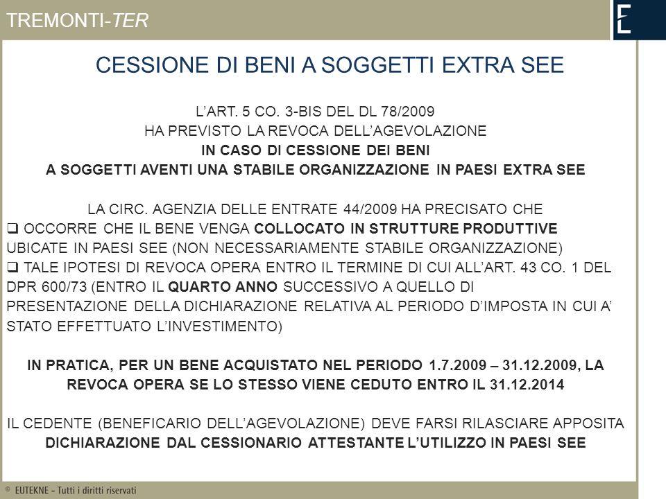 CESSIONE DI BENI A SOGGETTI EXTRA SEE LART. 5 CO.