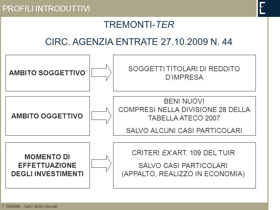 SOGGETTI IN PERDITA TREMONTI-TER OPERANO I CRITERI GENERALI PREVISTI DAGLI ARTT.