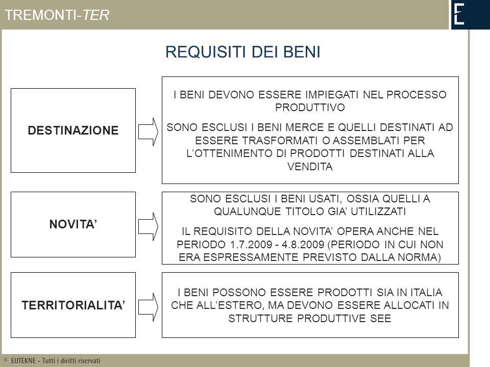 INVESTIMENTI AGEVOLABILI TREMONTI-TER MOMENTO DI EFFETTUAZIONE CRITERI EX ART.