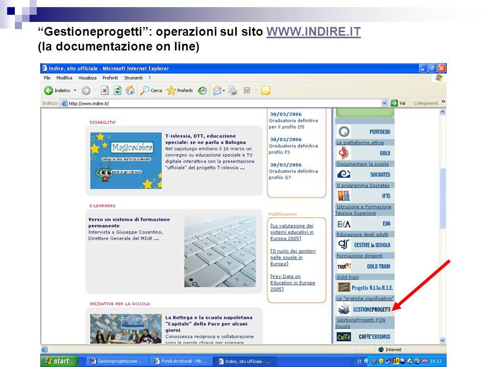 Gestioneprogetti: operazioni sul sito WWW.INDIRE.ITWWW.INDIRE.IT (la documentazione on line)
