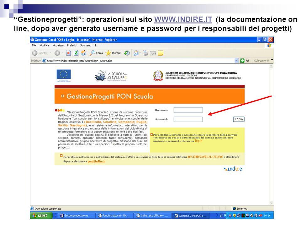 Gestioneprogetti: operazioni sul sito WWW.INDIRE.IT (la documentazione on line, dopo aver generato username e password per i responsabili del progetti