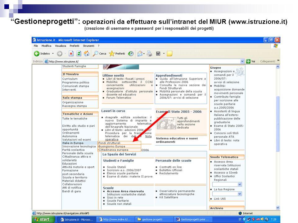 Gestioneprogetti: operazioni da effettuare sullintranet del MIUR (www.istruzione.it) (creazione di username e password per i responsabili dei progetti