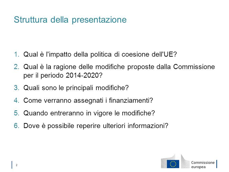 2 Struttura della presentazione 1.Qual è l'impatto della politica di coesione dell'UE? 2.Qual è la ragione delle modifiche proposte dalla Commissione