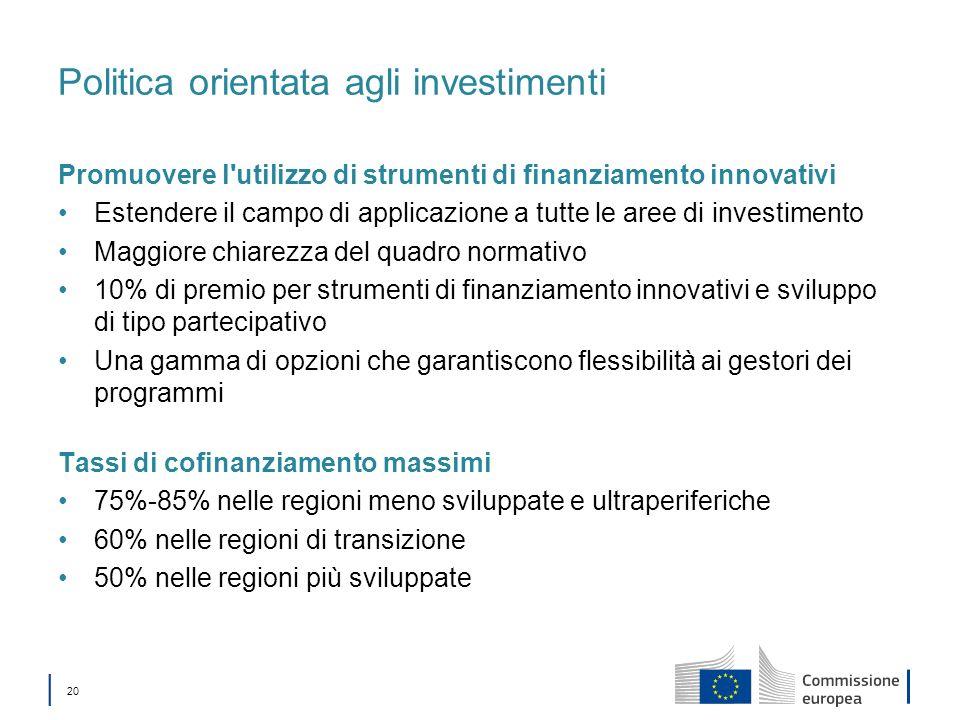 20 Politica orientata agli investimenti Promuovere l'utilizzo di strumenti di finanziamento innovativi Estendere il campo di applicazione a tutte le a