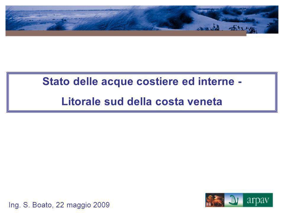 Ing. S. Boato, 22 maggio 2009 Stato delle acque costiere ed interne - Litorale sud della costa veneta