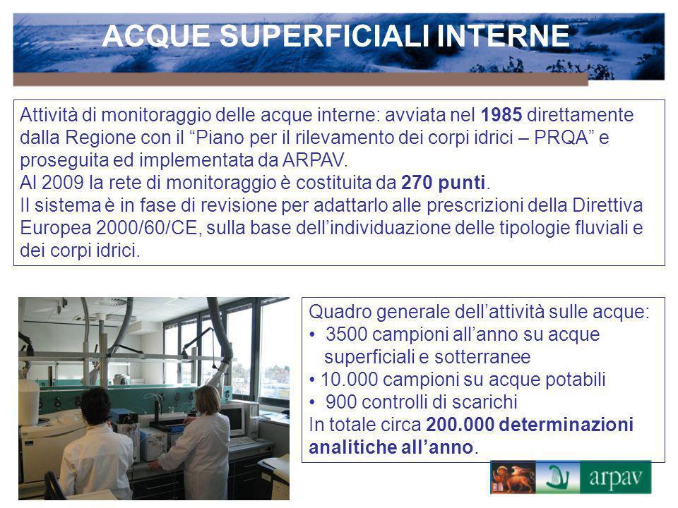 Attività di monitoraggio delle acque interne: avviata nel 1985 direttamente dalla Regione con il Piano per il rilevamento dei corpi idrici – PRQA e pr