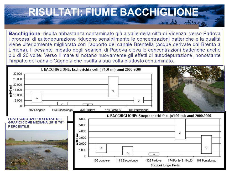RISULTATI: FIUME BACCHIGLIONE Bacchiglione: risulta abbastanza contaminato già a valle della città di Vicenza; verso Padova i processi di autodepurazi