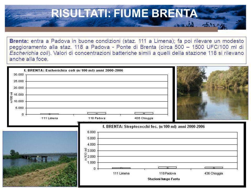 RISULTATI: FIUME BRENTA Brenta: entra a Padova in buone condizioni (staz. 111 a Limena); fa poi rilevare un modesto peggioramento alla staz. 118 a Pad