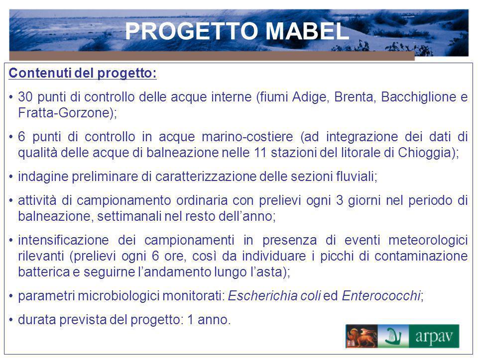 PROGETTO MABEL Contenuti del progetto: 30 punti di controllo delle acque interne (fiumi Adige, Brenta, Bacchiglione e Fratta-Gorzone); 6 punti di cont