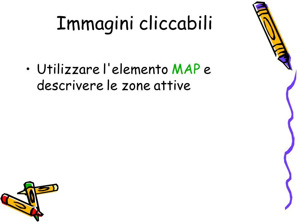 Immagini cliccabili Utilizzare l'elemento MAP e descrivere le zone attive
