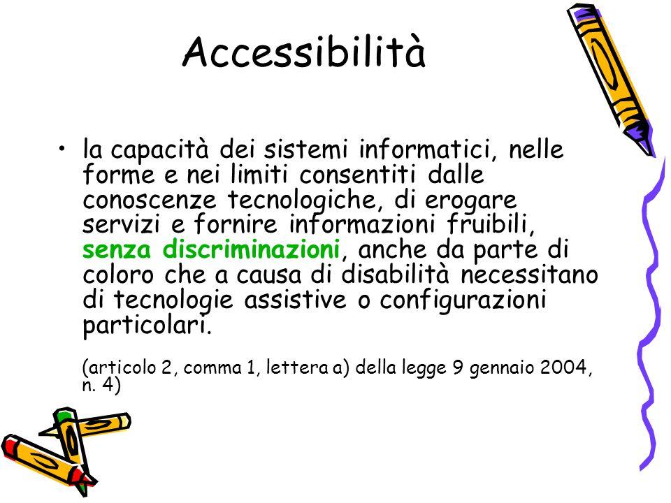 Accessibilità la capacità dei sistemi informatici, nelle forme e nei limiti consentiti dalle conoscenze tecnologiche, di erogare servizi e fornire inf
