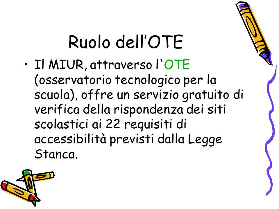 Ruolo dellOTE Il MIUR, attraverso l'OTE (osservatorio tecnologico per la scuola), offre un servizio gratuito di verifica della rispondenza dei siti sc