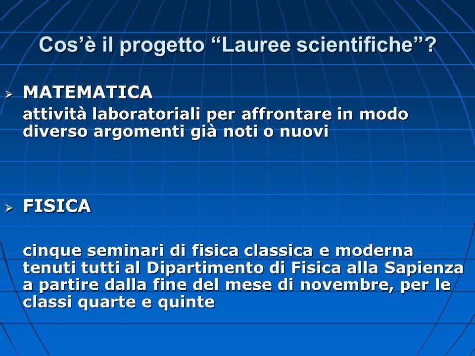 Cosè il progetto Lauree scientifiche? MATEMATICA MATEMATICA attività laboratoriali per affrontare in modo diverso argomenti già noti o nuovi FISICA FI