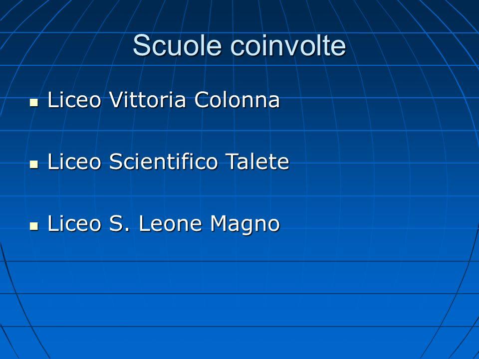 Scuole coinvolte Liceo Vittoria Colonna Liceo Vittoria Colonna Liceo Scientifico Talete Liceo Scientifico Talete Liceo S. Leone Magno Liceo S. Leone M