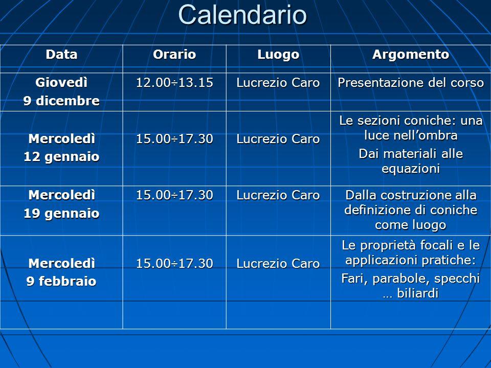 Calendario DataOrarioLuogoArgomento Giovedì 9 dicembre 12.00÷13.15 Lucrezio Caro Presentazione del corso Mercoledì 12 gennaio 15.00÷17.30 Lucrezio Car