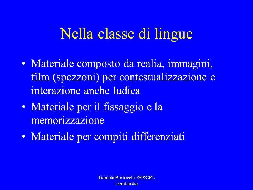 Daniela Bertocchi- GISCEL Lombardia Nella classe di lingue Materiale composto da realia, immagini, film (spezzoni) per contestualizzazione e interazio