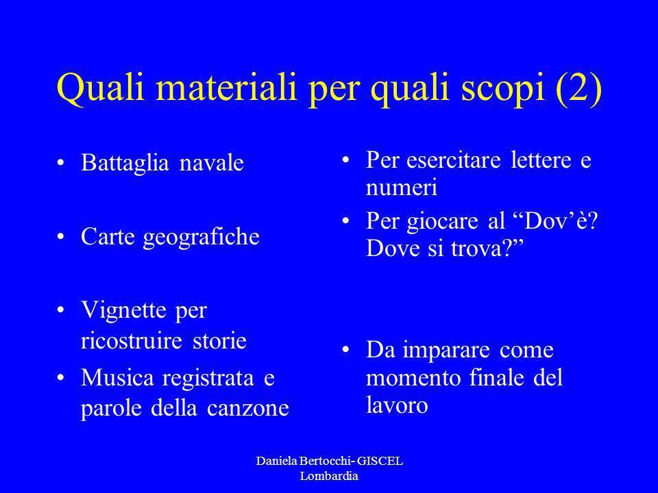 Daniela Bertocchi- GISCEL Lombardia Quali materiali per quali scopi (2) Battaglia navale Carte geografiche Vignette per ricostruire storie Musica regi