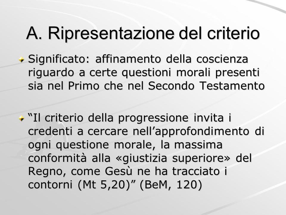 A. Ripresentazione del criterio Significato: affinamento della coscienza riguardo a certe questioni morali presenti sia nel Primo che nel Secondo Test