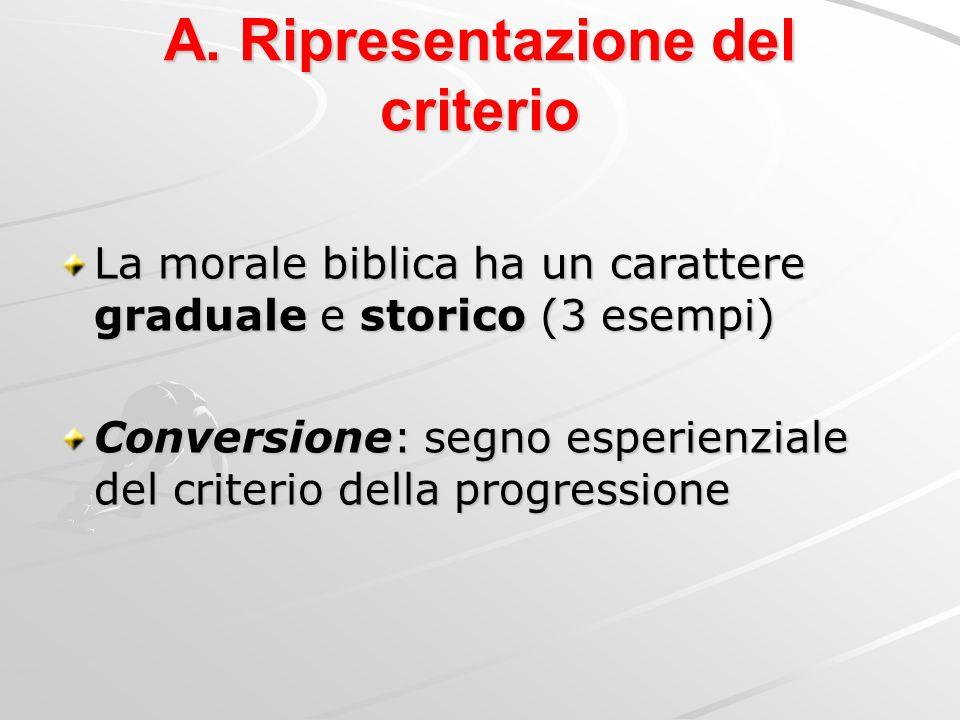 A. Ripresentazione del criterio La morale biblica ha un carattere graduale e storico (3 esempi) Conversione: segno esperienziale del criterio della pr