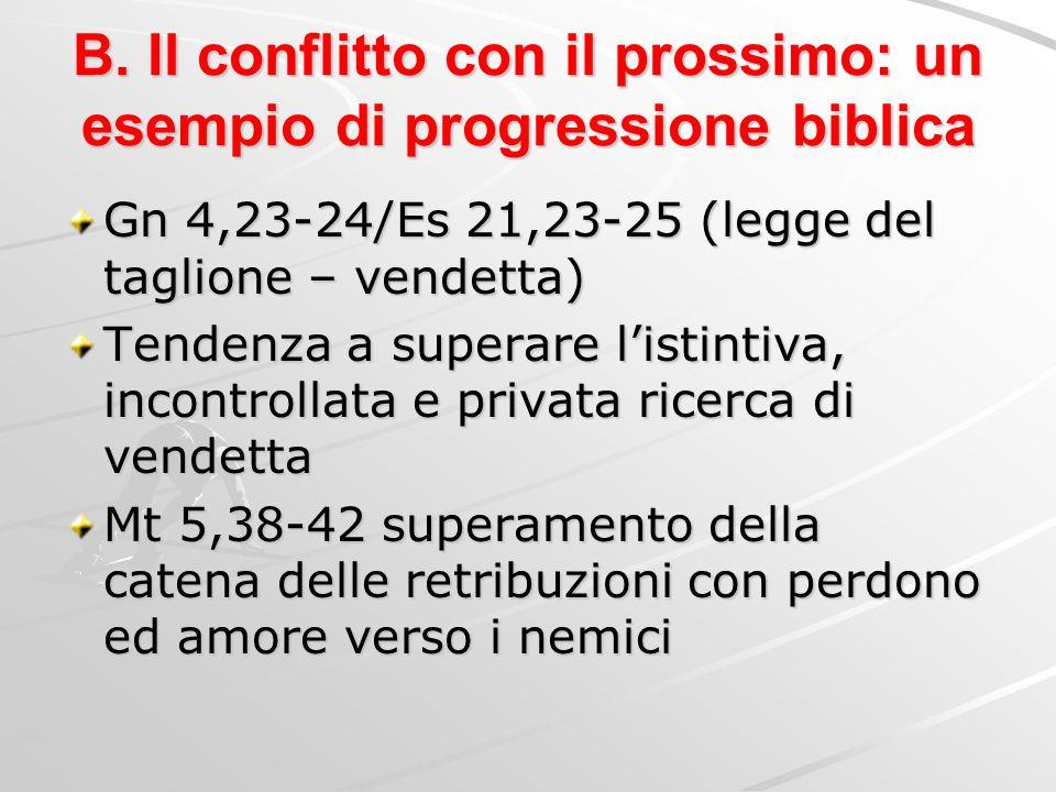 B. Il conflitto con il prossimo: un esempio di progressione biblica Gn 4,23-24/Es 21,23-25 (legge del taglione – vendetta) Tendenza a superare listint