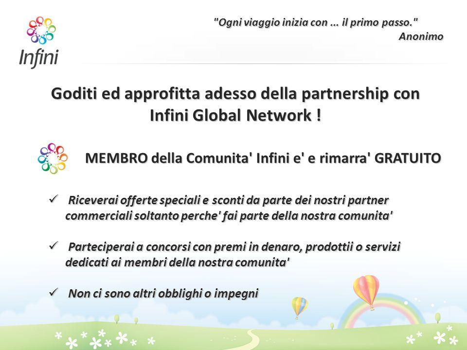 Goditi ed approfitta adesso della partnership con Infini Global Network ! MEMBRO della Comunita' Infini e' e rimarra' GRATUITO Riceverai offerte speci