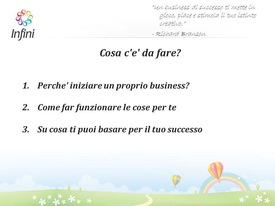 Cosa c'e' da fare? 1.Perche' iniziare un proprio business? 2.Come far funzionare le cose per te 3.Su cosa ti puoi basare per il tuo successo Un busine