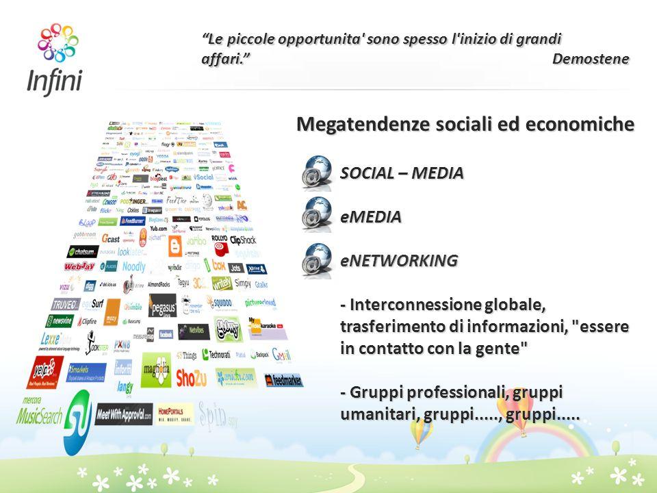 Le piccole opportunita' sono spesso l'inizio di grandi affari. Demostene Megatendenze sociali ed economiche SOCIAL – MEDIA eMEDIAeNETWORKING - Interco