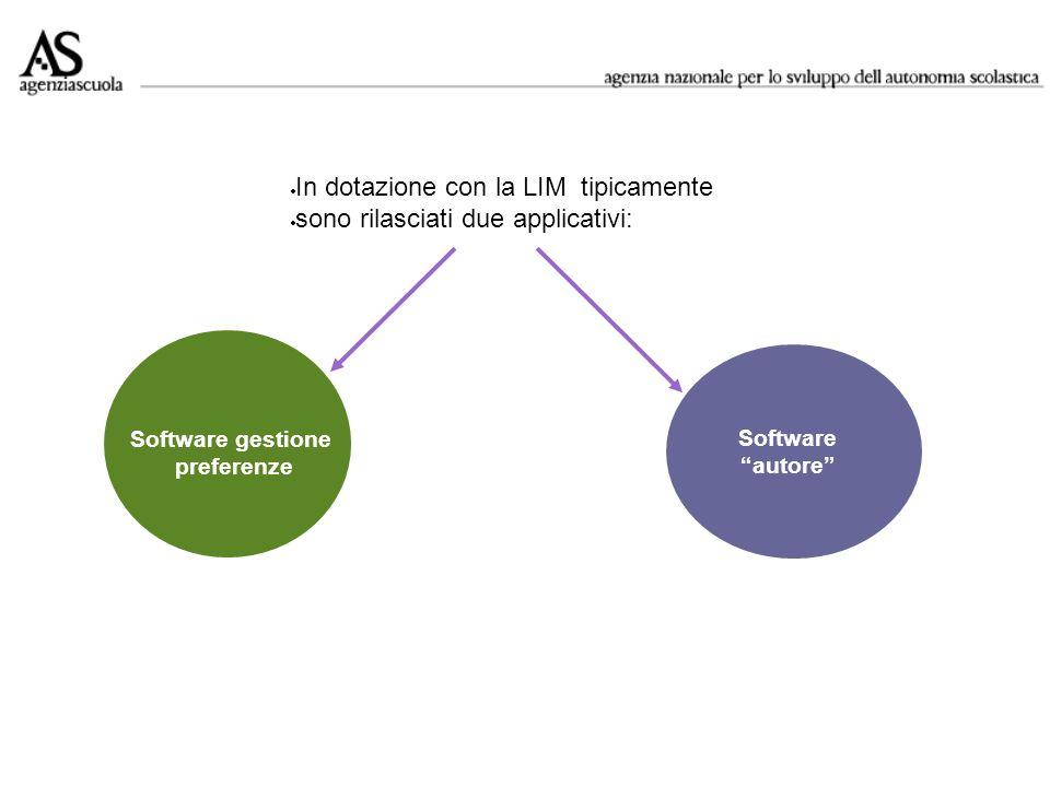 Software gestione preferenze Software autore In dotazione con la LIM tipicamente sono rilasciati due applicativi:
