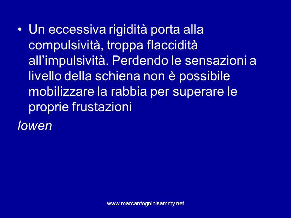 www.marcantogninisammy.net Un eccessiva rigidità porta alla compulsività, troppa flaccidità allimpulsività. Perdendo le sensazioni a livello della sch