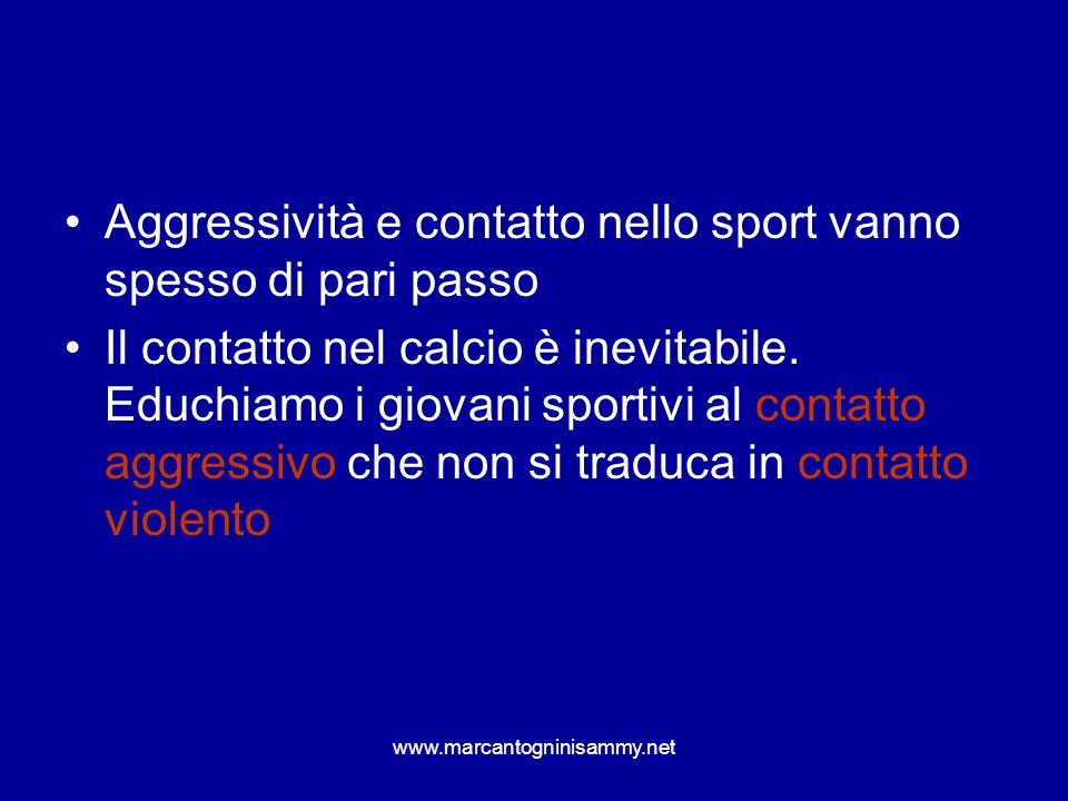 www.marcantogninisammy.net Aggressività e contatto nello sport vanno spesso di pari passo Il contatto nel calcio è inevitabile. Educhiamo i giovani sp