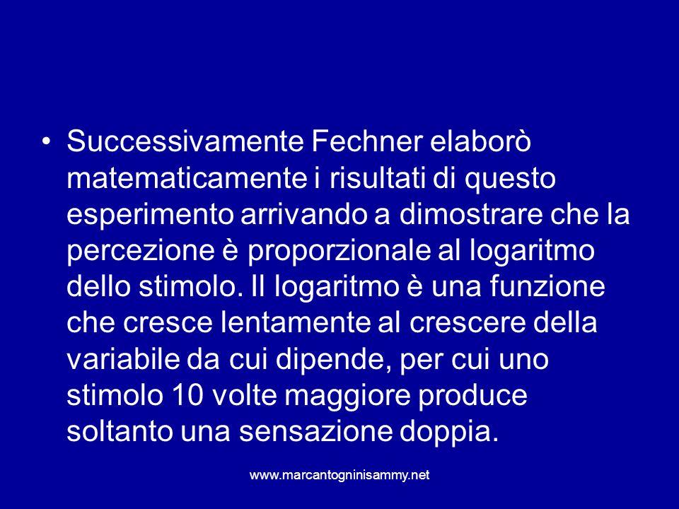 www.marcantogninisammy.net Successivamente Fechner elaborò matematicamente i risultati di questo esperimento arrivando a dimostrare che la percezione