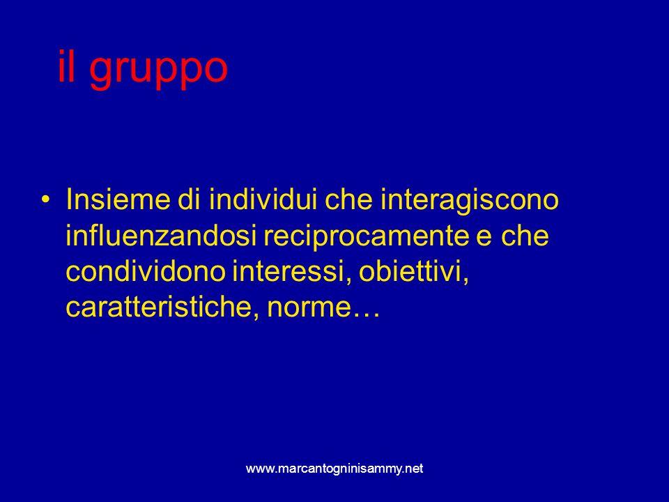 Insieme di individui che interagiscono influenzandosi reciprocamente e che condividono interessi, obiettivi, caratteristiche, norme… il gruppo