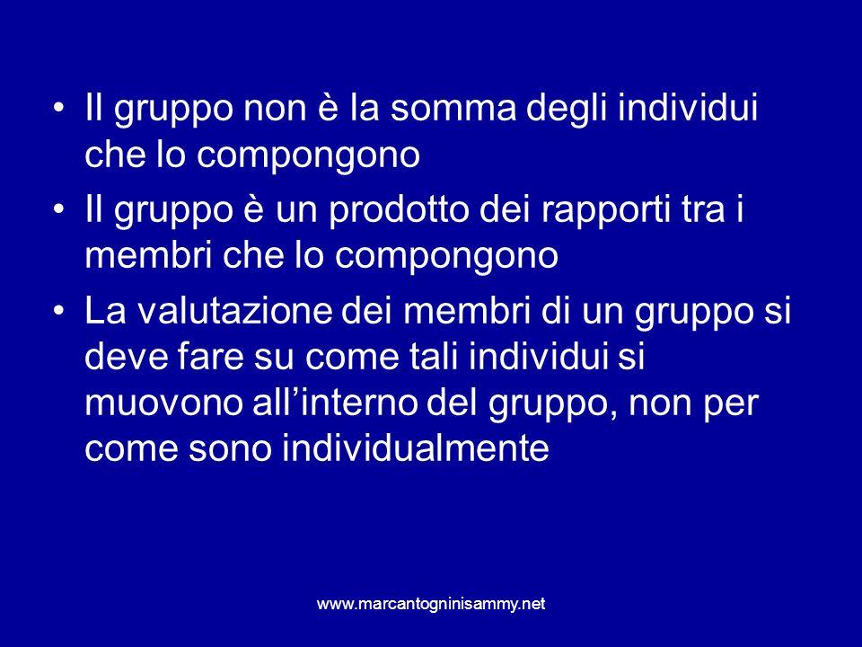www.marcantogninisammy.net Il gruppo non è la somma degli individui che lo compongono Il gruppo è un prodotto dei rapporti tra i membri che lo compong