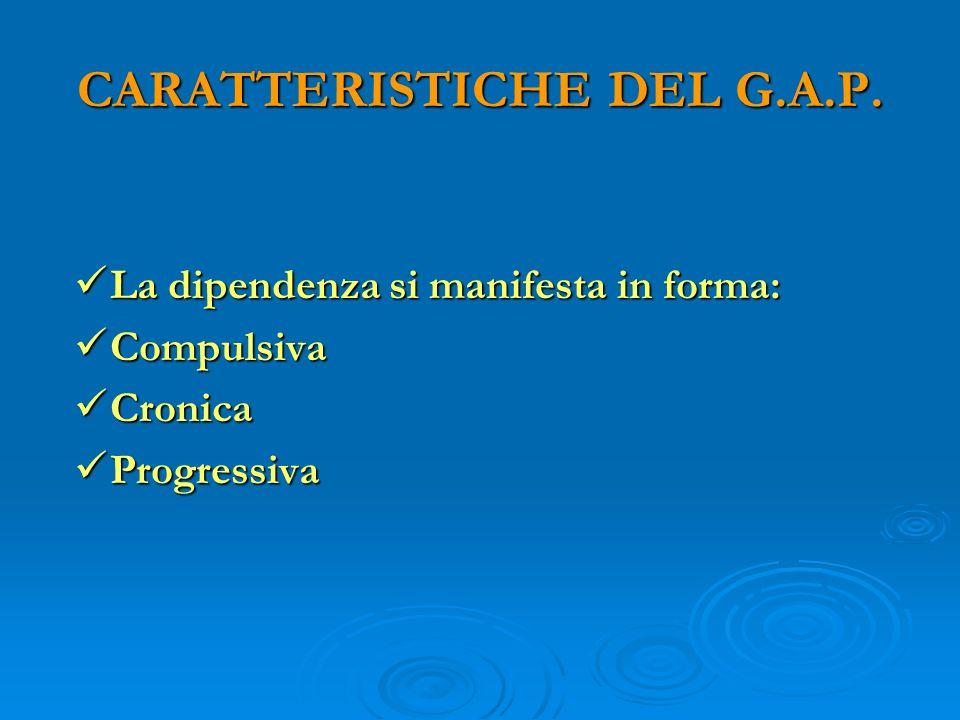 CARATTERISTICHE DEL G.A.P. La dipendenza si manifesta in forma: La dipendenza si manifesta in forma: Compulsiva Compulsiva Cronica Cronica Progressiva