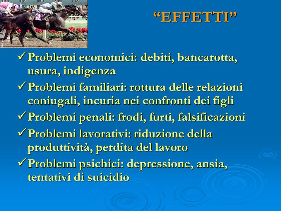 EFFETTI Problemi economici: debiti, bancarotta, usura, indigenza Problemi economici: debiti, bancarotta, usura, indigenza Problemi familiari: rottura