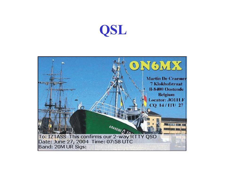 QSL??? Le QSL sono particolari cartoline che vengono scambiate per la conferma dellavvenuto collegamento. Nel caso di richiesta di Diplomi o altre Cer