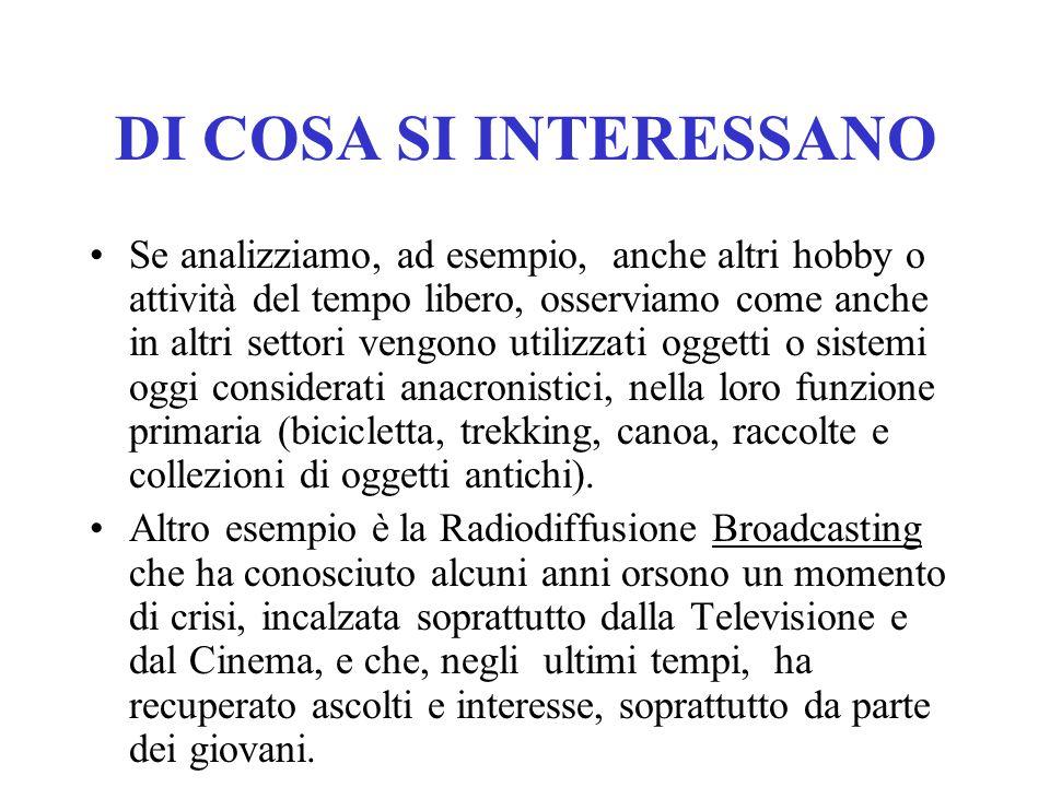 DI COSA SI INTERESSANO LA RADIO !!!! Ma nellera di Internet, dei Telefonini, dellUMTS, degli MMS, SMS, delle videochiamate, del GPS, i radioamatori no