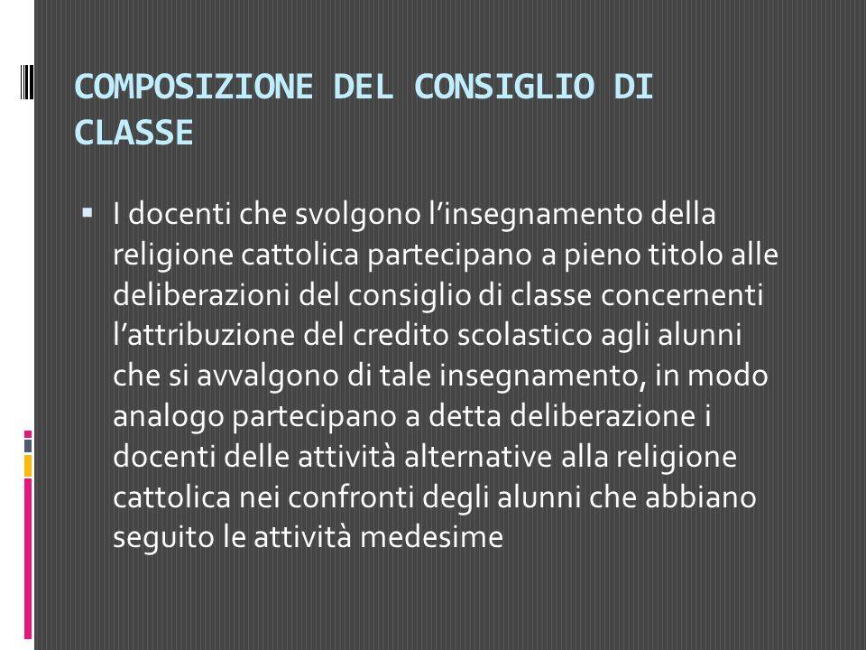COMPOSIZIONE DEL CONSIGLIO DI CLASSE I docenti che svolgono linsegnamento della religione cattolica partecipano a pieno titolo alle deliberazioni del