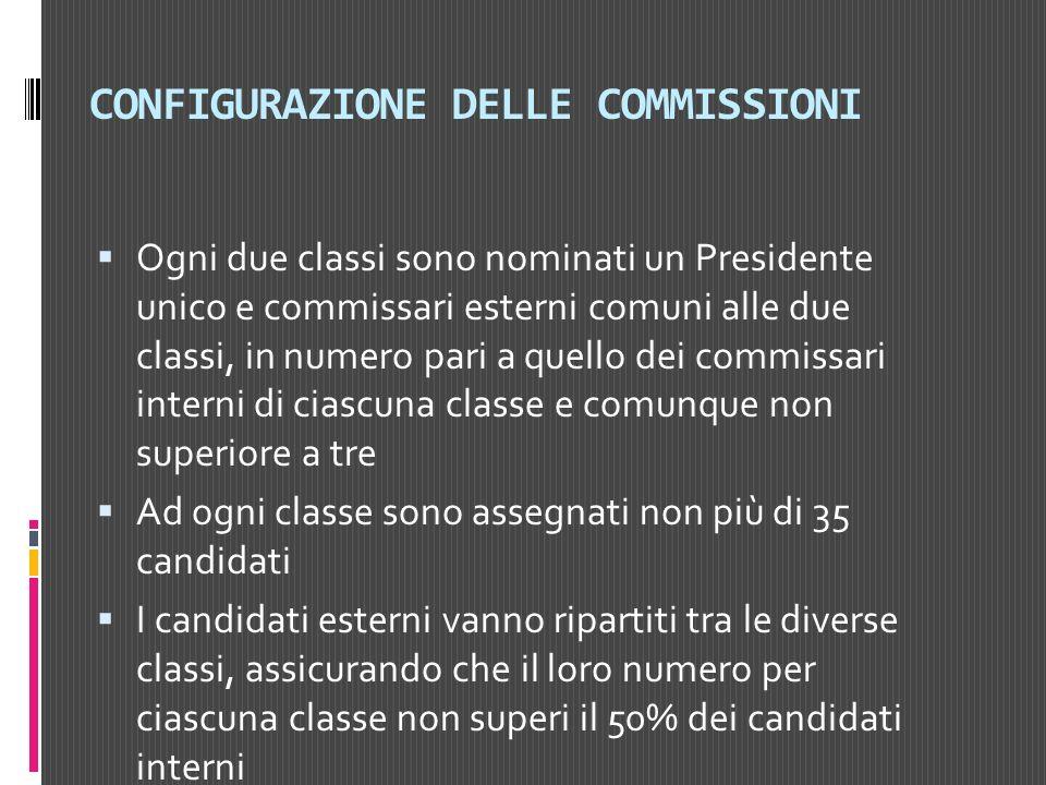 CONFIGURAZIONE DELLE COMMISSIONI Ogni due classi sono nominati un Presidente unico e commissari esterni comuni alle due classi, in numero pari a quell