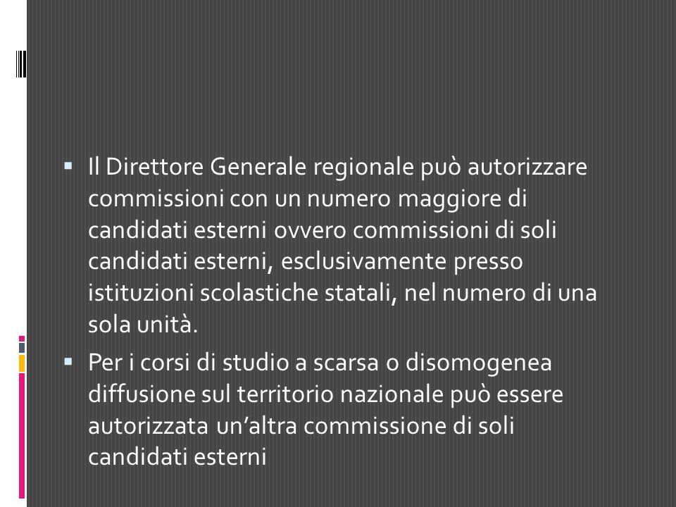 Il Direttore Generale regionale può autorizzare commissioni con un numero maggiore di candidati esterni ovvero commissioni di soli candidati esterni,