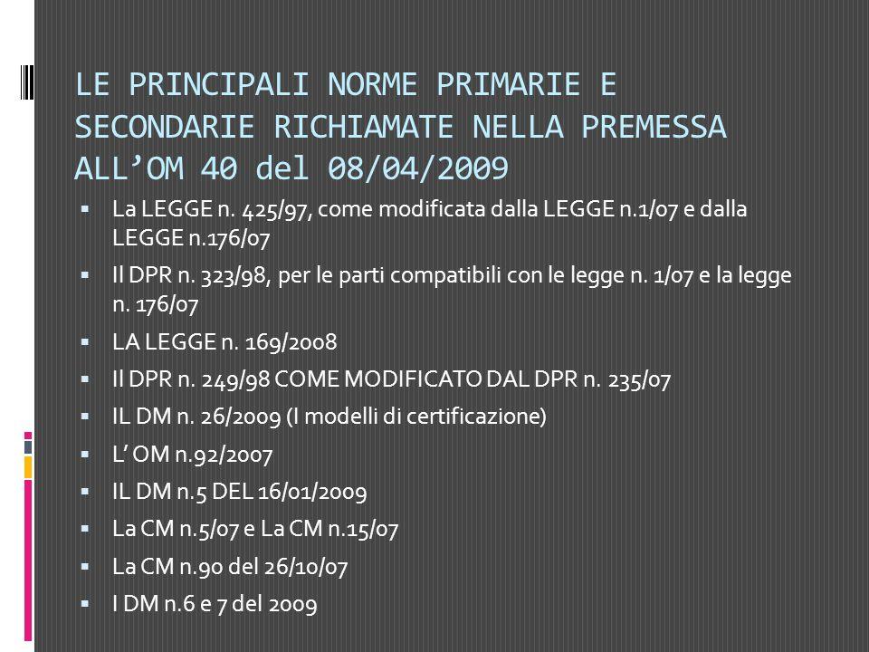 LE PRINCIPALI NORME PRIMARIE E SECONDARIE RICHIAMATE NELLA PREMESSA ALLOM 40 del 08/04/2009 La LEGGE n. 425/97, come modificata dalla LEGGE n.1/07 e d