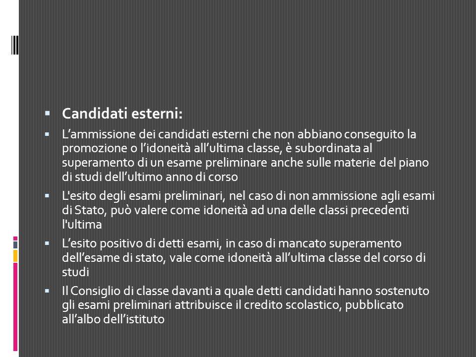 Candidati esterni: Lammissione dei candidati esterni che non abbiano conseguito la promozione o lidoneità allultima classe, è subordinata al superamen