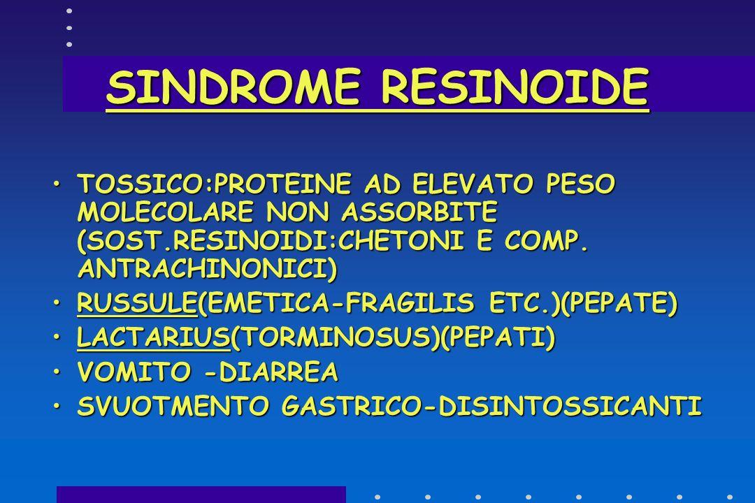 SINDROME GASTROENTERICA SINTOMI : VOMITO-DIARREA + SINTOMI DI ALTRE SINDROMI QUALE LA PARAFALLOIDEA,CON COMPROMISSIONE EPATICA,O LA MUSCARINICA.SINTOM